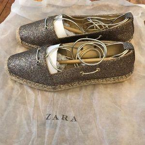 Zara Lace up sparkle espadrilles.